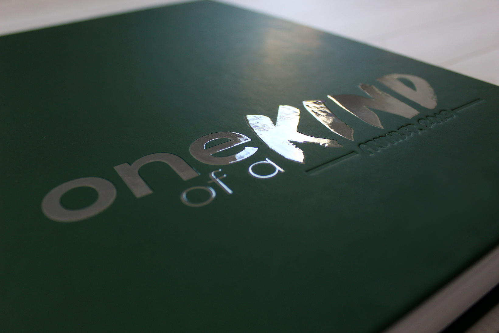 Close up of embossing and UV coating on yearbook cover